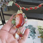 sample of wire wrapped carnelian stone