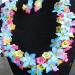 wire necklaces - yellow, pink, blue acrylic flowers