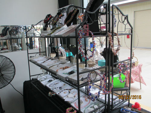 More $20 necklaces on this side of the six foot moving table -Bead and Jewelry Store at Traders Village - San Antonio
