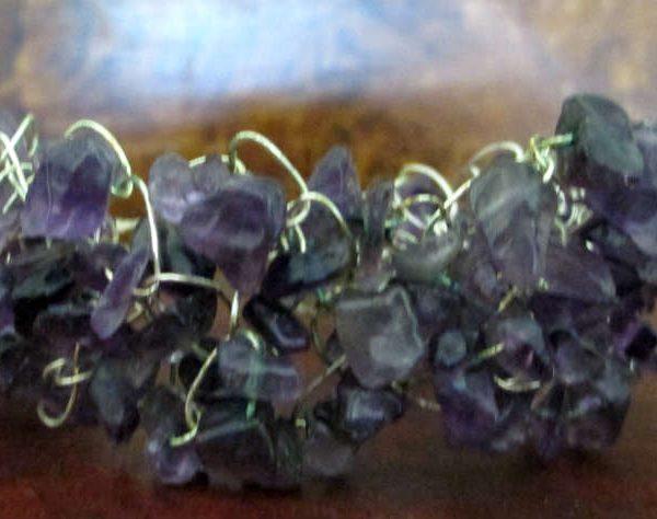 amethyst wire crocheted bracelet