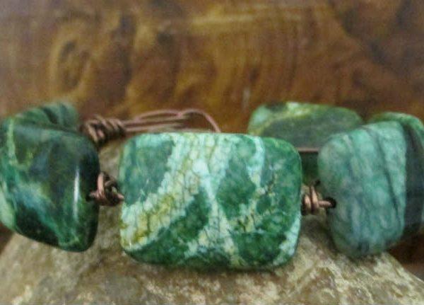 chrysocolla simple wire bracelet
