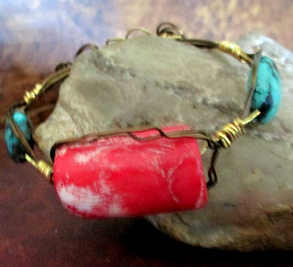 Coral and Turquoise Three Wire Cuff Bracelet