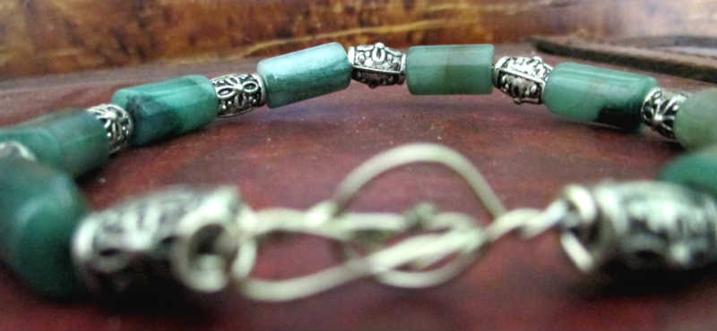 back of aventurine simple wire bracelet