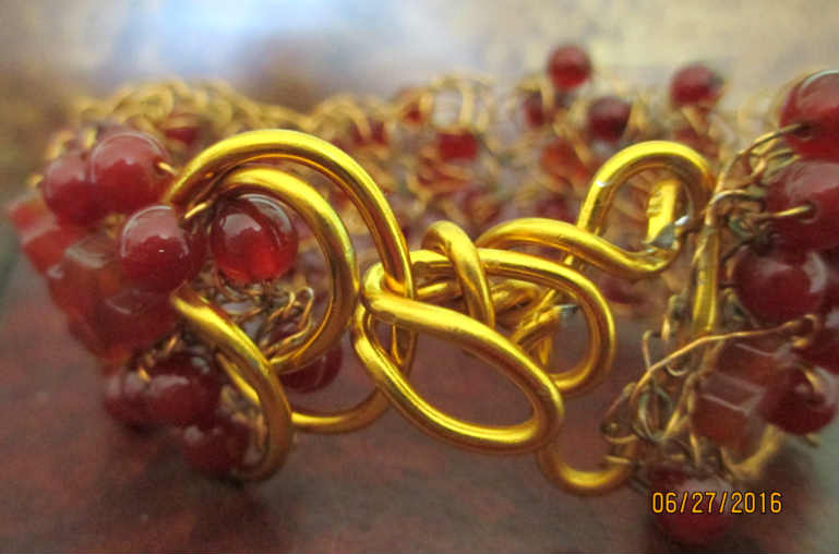 view of custom hook for carnelian wire crochet bracelet