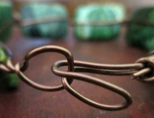 back of chrysocolla simple wire bracelet