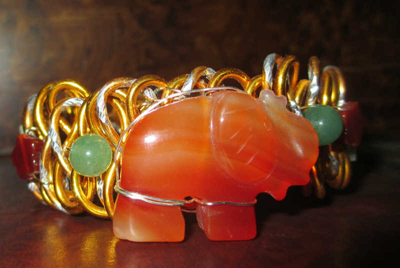 carnelian braided wire cuff