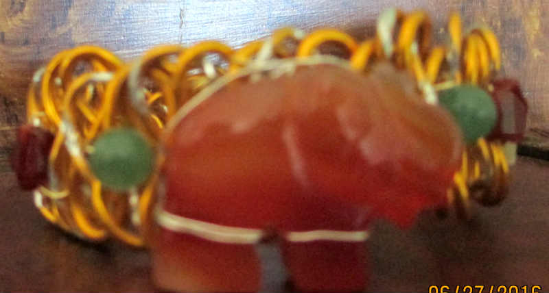 front view of carnelian wire elephant bangle