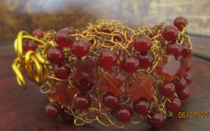 other side of carnelian wire crocheted bracelet