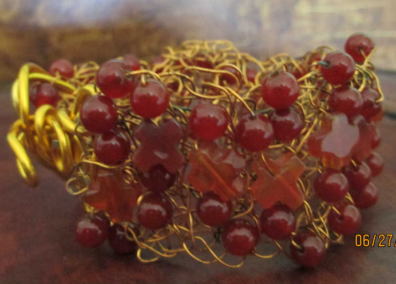side view of carnelian wire crocheted bracelet