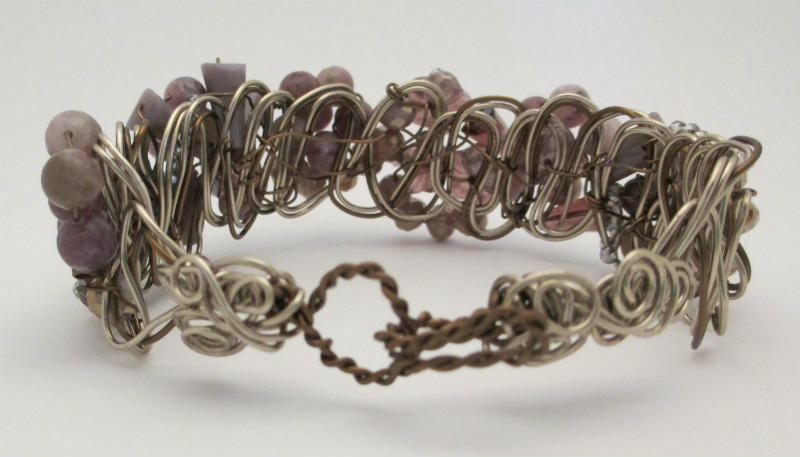 back view of lavender braided wire bracelet
