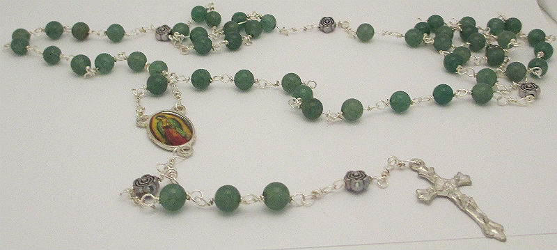 Wrapped loop rosary using aventurine beads and Our lady of Guadalupe connector