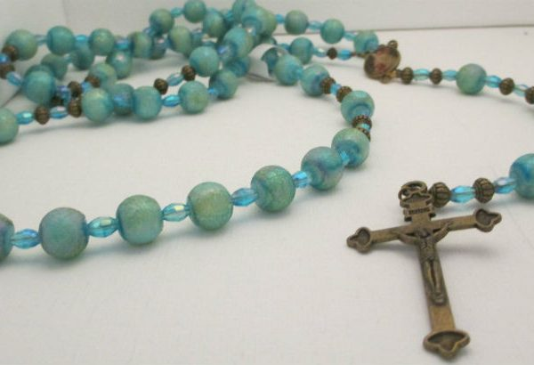 Blue and Sea Green Beaded Rosary using small bicones and large glass beads
