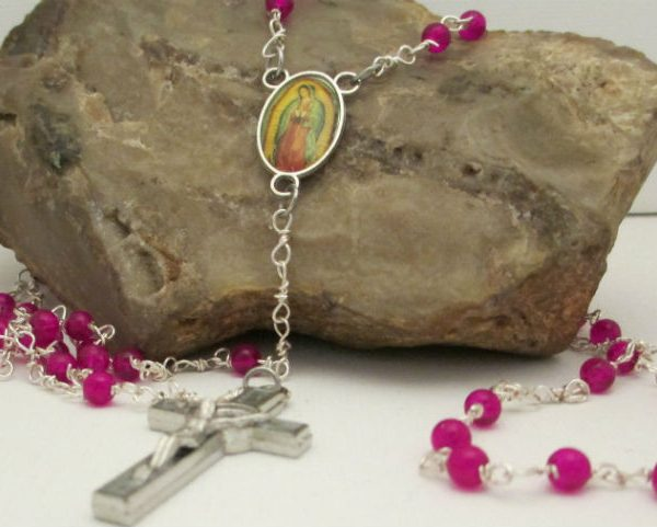 crackle glass beaded rosary made with wrapped loops