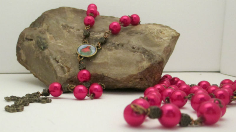 vintage bronze rosary made with pink glass pearls