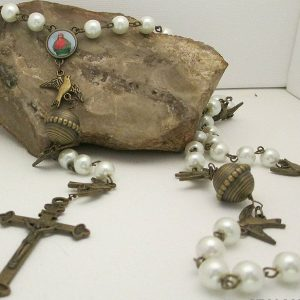 white glass pearl rosary with bronze findings