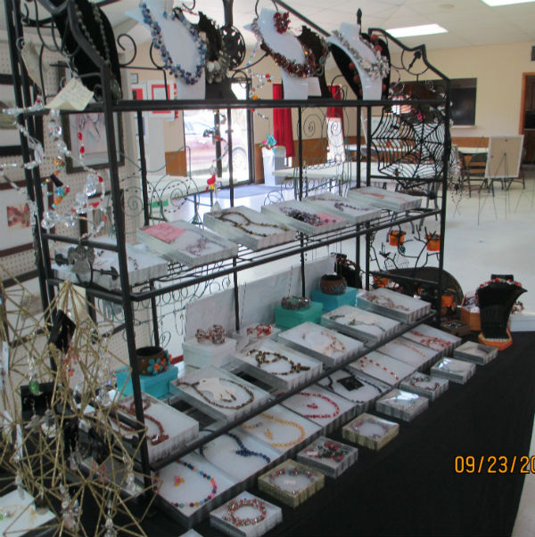 Baker's Rack with Jewelry on shelves