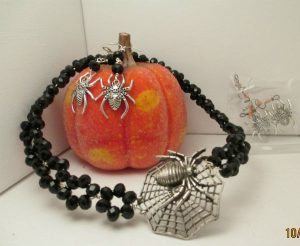 black crystal bead and twist necklace with large spider focal